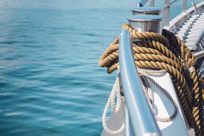Manila rope on boat