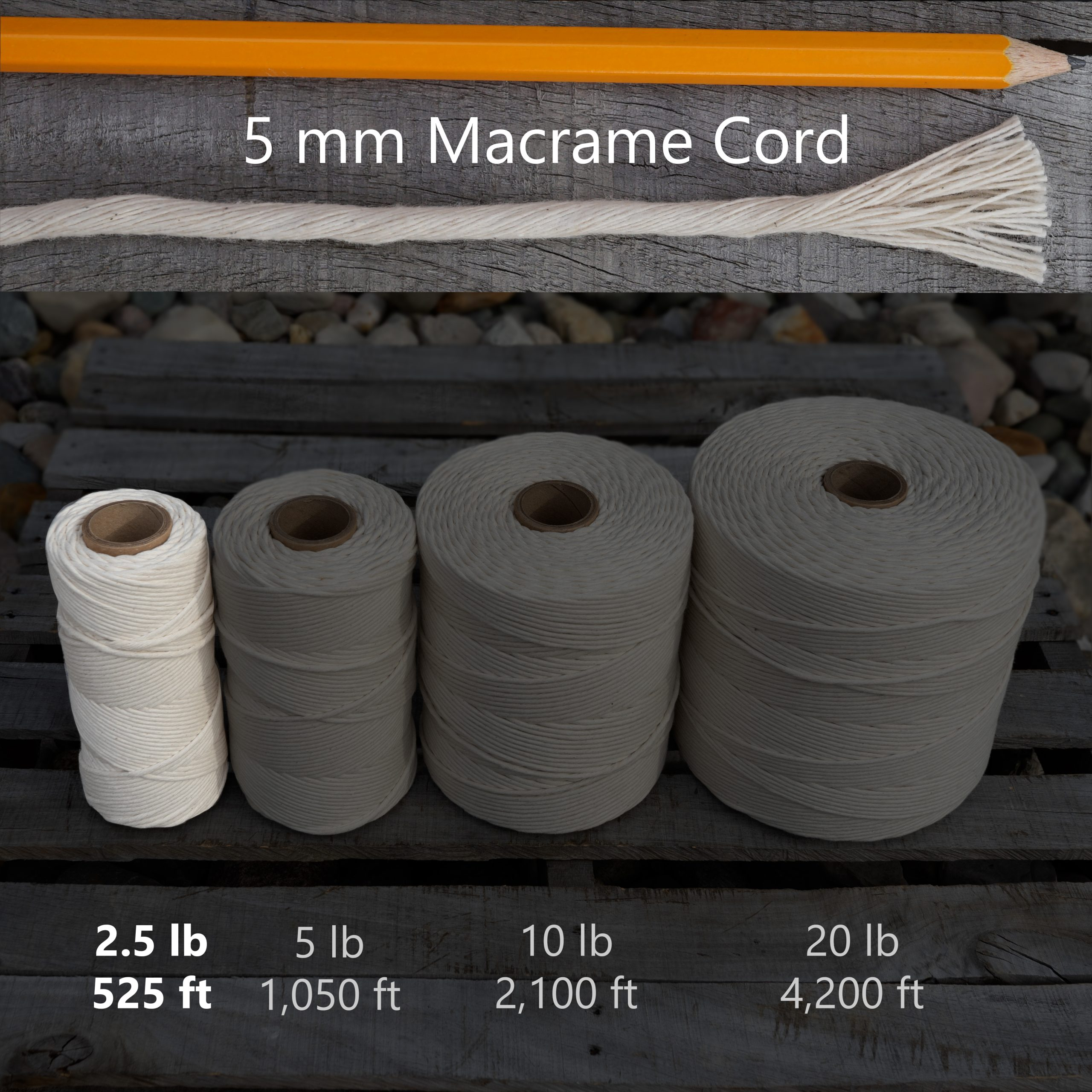 5 mm x 2.5 lb macrame tube