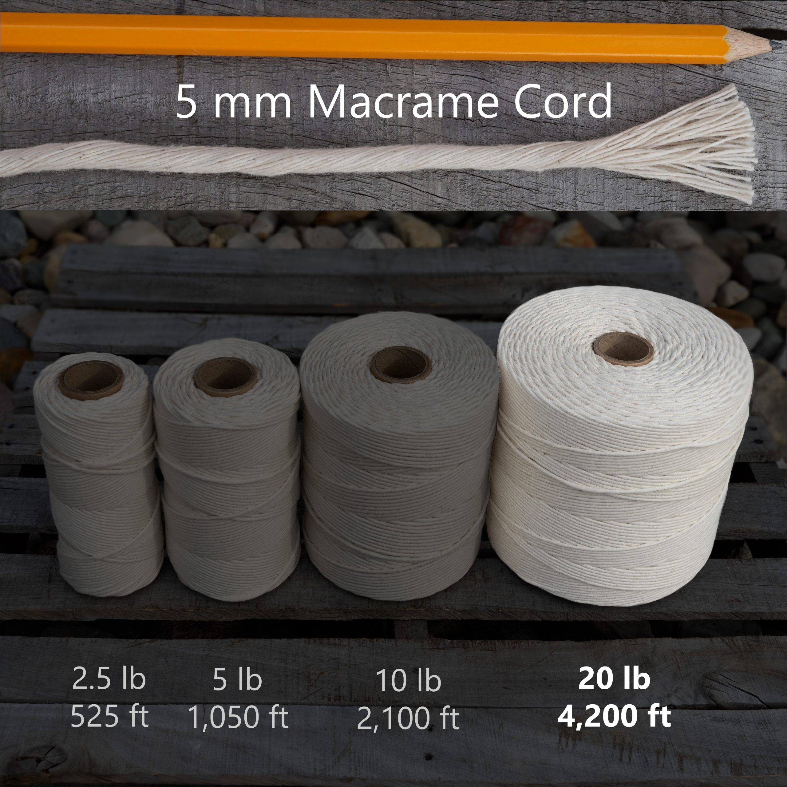 5 mm x 20 lb macrame tube
