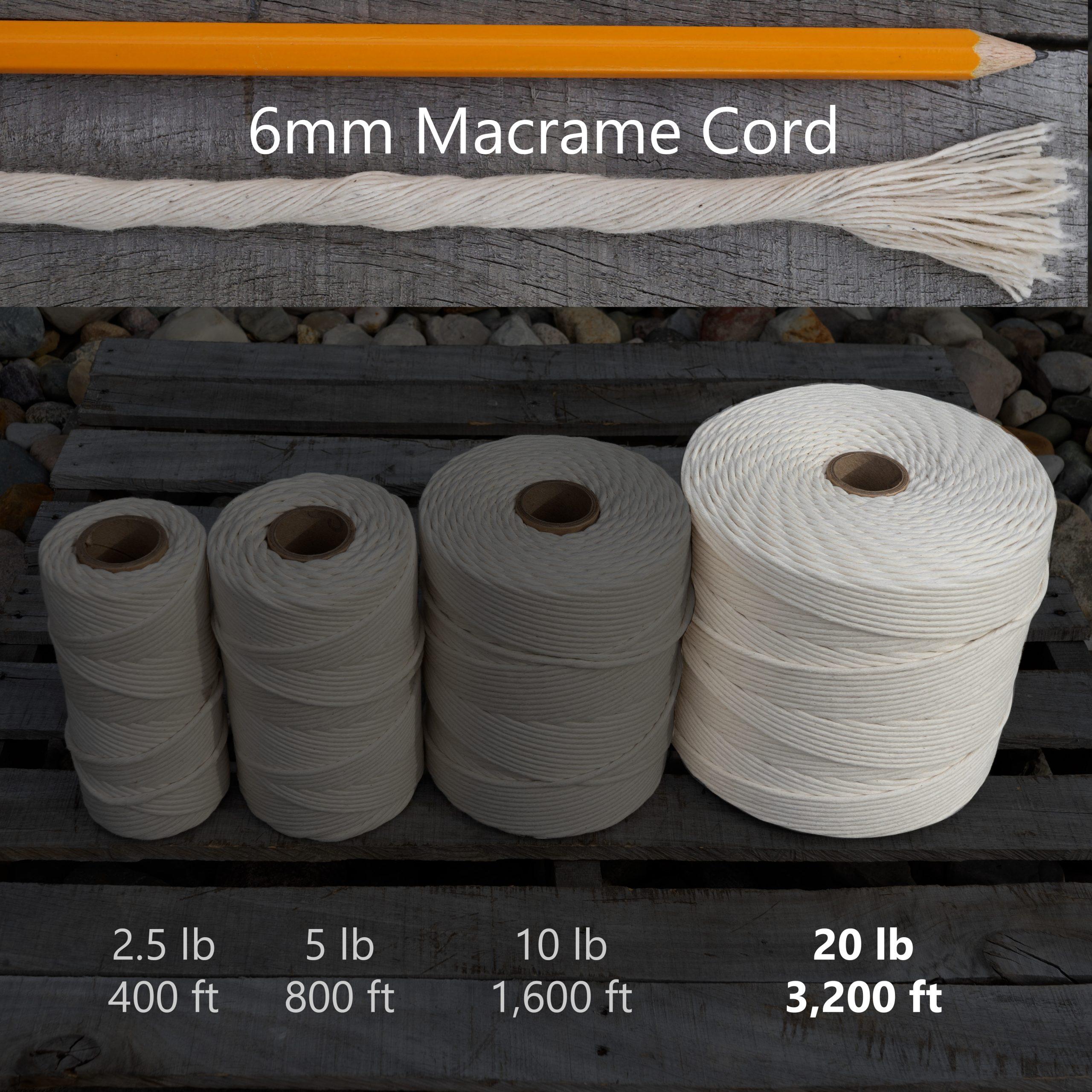 6 mm x 20 lb macrame tube